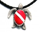 Pewter Pendant Dive Turtle